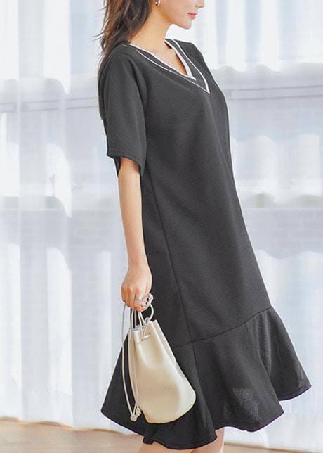 loloten-블랙아이 시보리브이넥 원피스♡韓國女裝連身裙