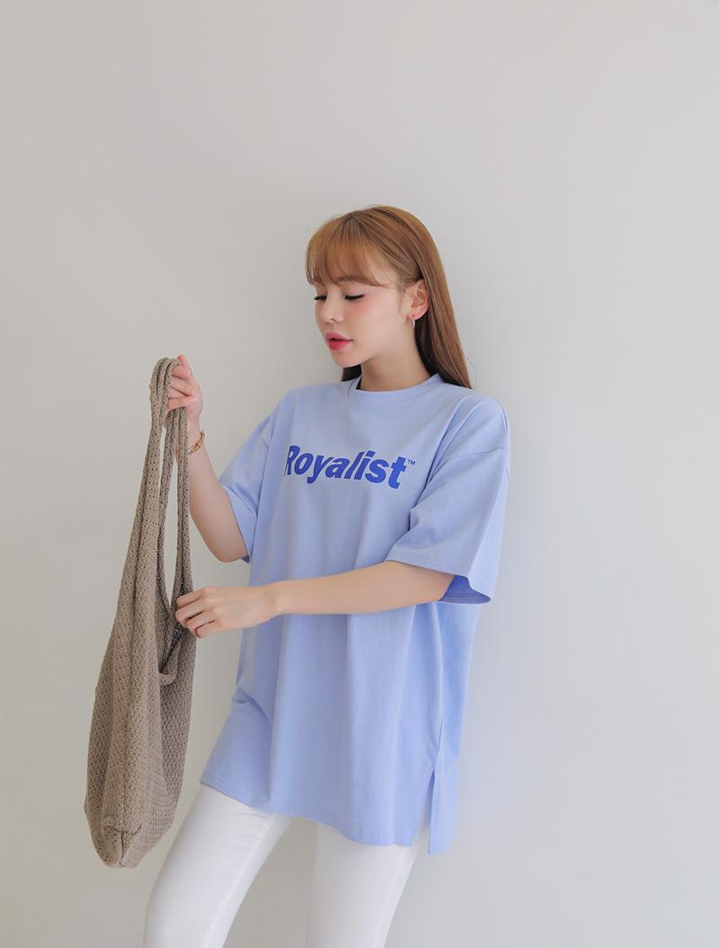 jstyleshop-[[EVELLET]울렌스 레터링 트임 롱티셔츠]♡韓國女裝上衣