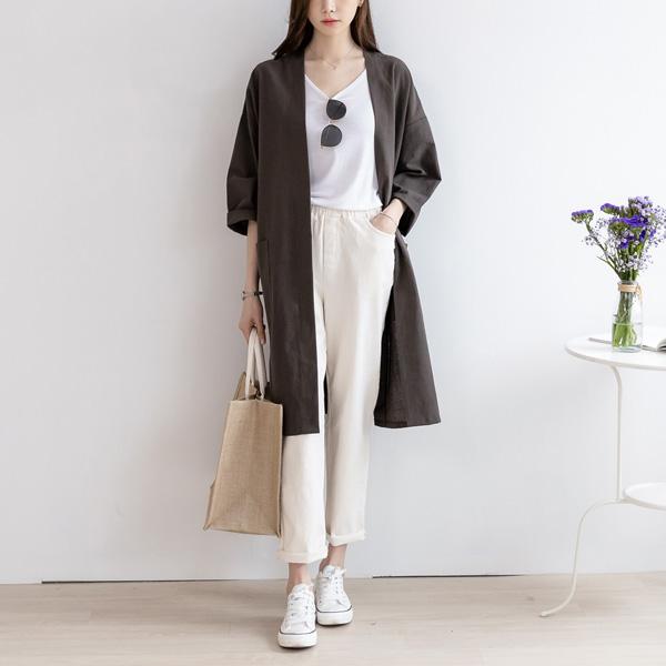 misscandy-[no.18661 양포켓 워싱코튼 루즈핏 로브]♡韓國女裝外套