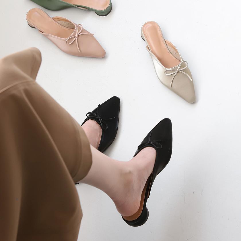 sappun-프히네 리본장식 슬리퍼 (3cm)♡韓國女裝鞋