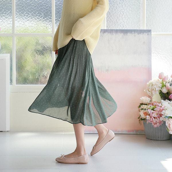 shehj-시스 도트 주름 밴딩 스커트♡韓國女裝裙