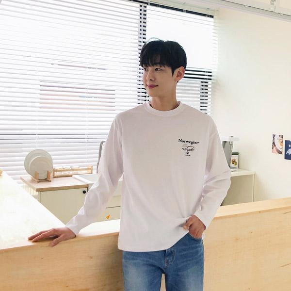 tomonari-토모나리(TOMONARI) [노르 레터링 네오프렌 티셔츠]♡韓國男裝上衣