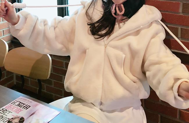 minsshop-아기곰 밍크 후드집업♡韓國女裝外套