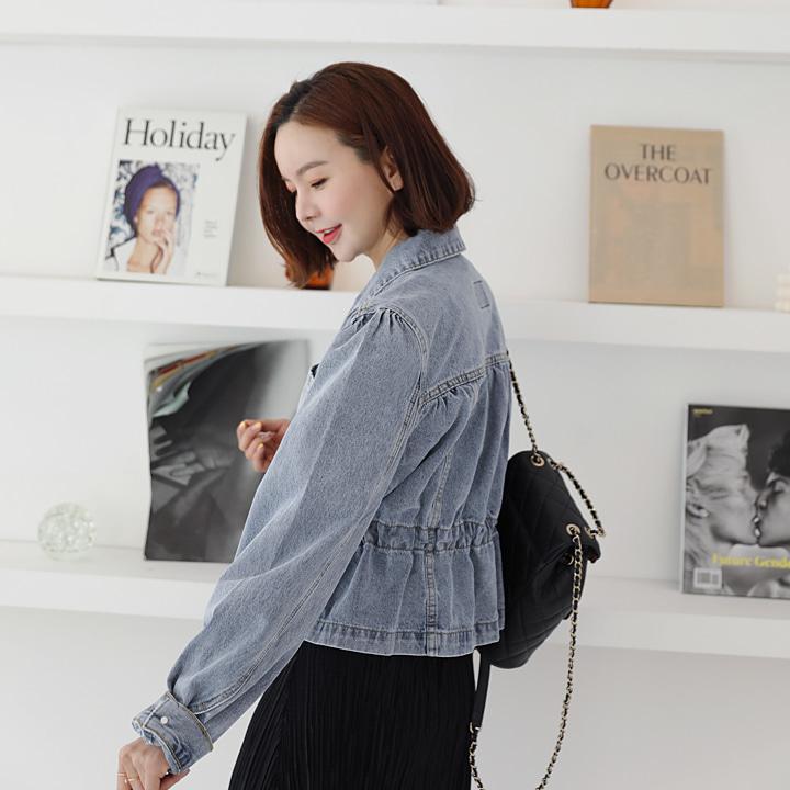 lemite-셔링스트링 데님자켓♡韓國女裝外套