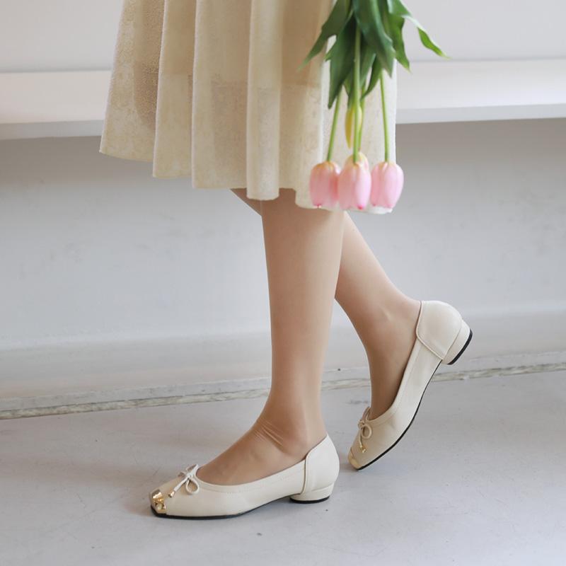 clicknfunny-[로골드장식 플랫슈즈]♡韓國女裝鞋