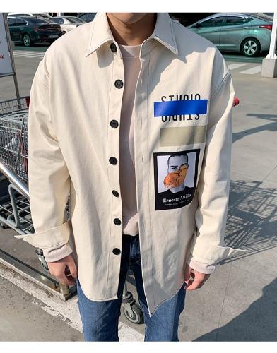 snipershop-오버핏 페인팅 전사 셔츠자켓♡韓國男裝外套
