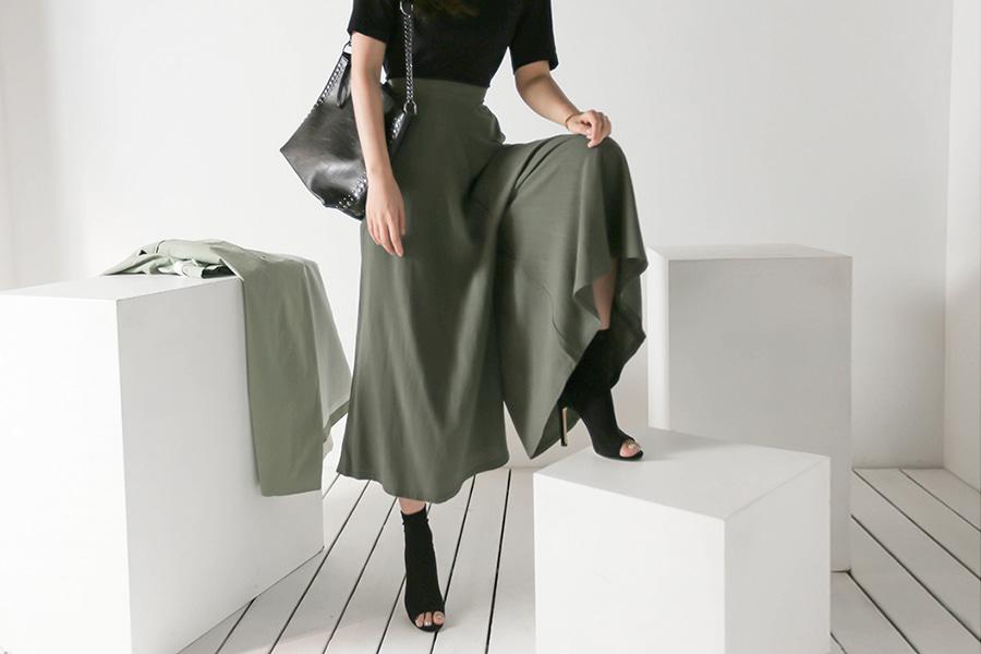 blancjo-플레어 밴딩 와이드 롱 팬츠_pt03791♡韓國女裝褲