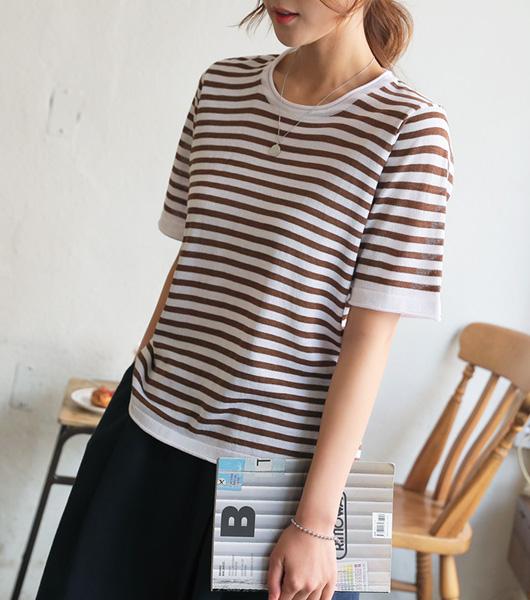 roompacker-룸페커 [말림 단가라 썸머 니트탑]♡韓國女裝上衣