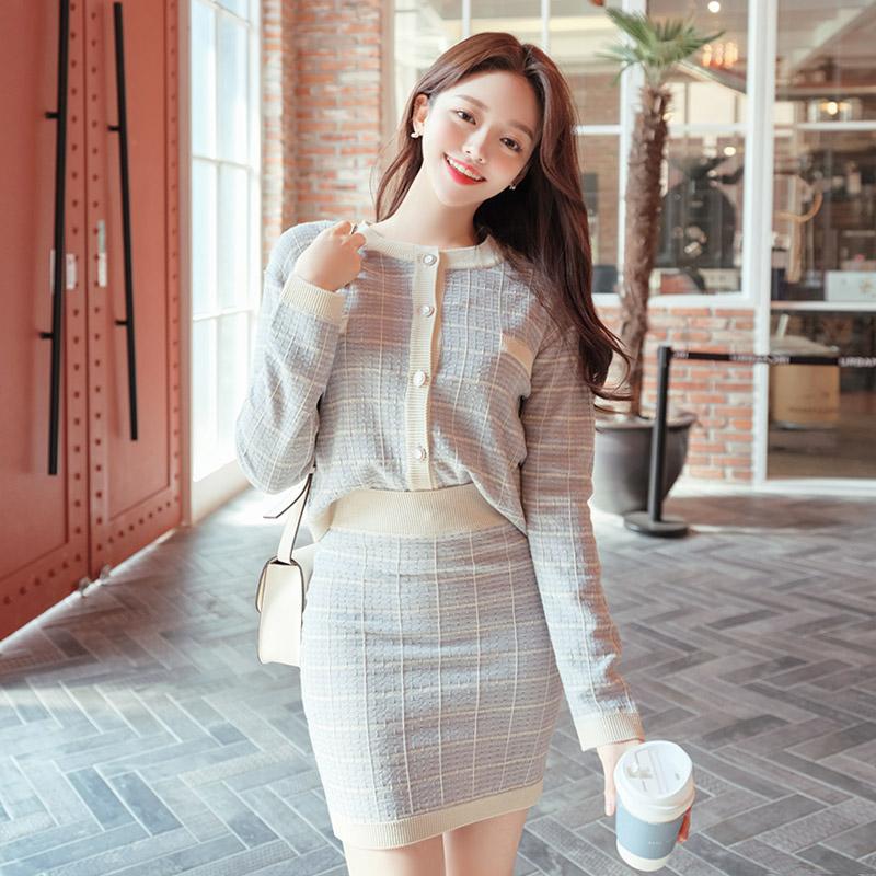 attrangs-sk4038 깔끔한 트위드 체크패턴으로 짜여진 쫀쫀 허리밴딩 니트 미니 스커트 skirt♡韓國女裝裙