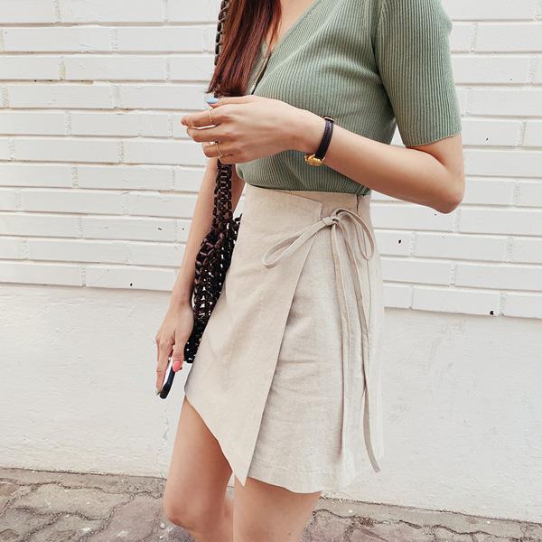 交疊綁帶裙褲