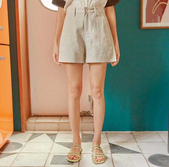 文青素色休閒短褲