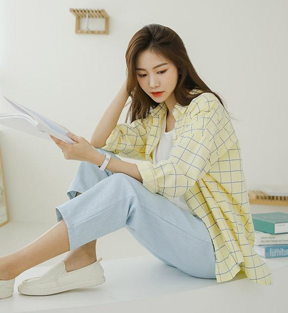 justone-프릭 윈도우체크 루즈핏 셔츠♡韓國女裝上衣