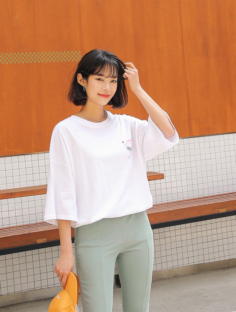 jstyleshop-[리케안 프린팅 롱티셔츠]♡韓國女裝上衣