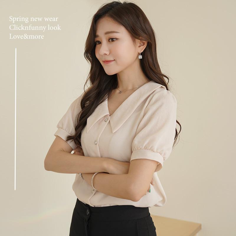 clicknfunny-[렐도아 퍼프블라우스]♡韓國女裝上衣