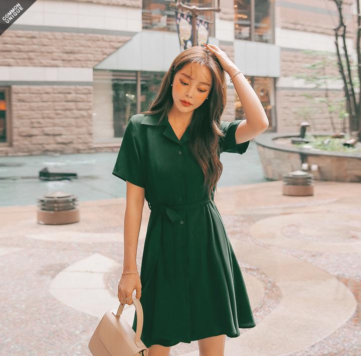 襯衫綁帶連身裙