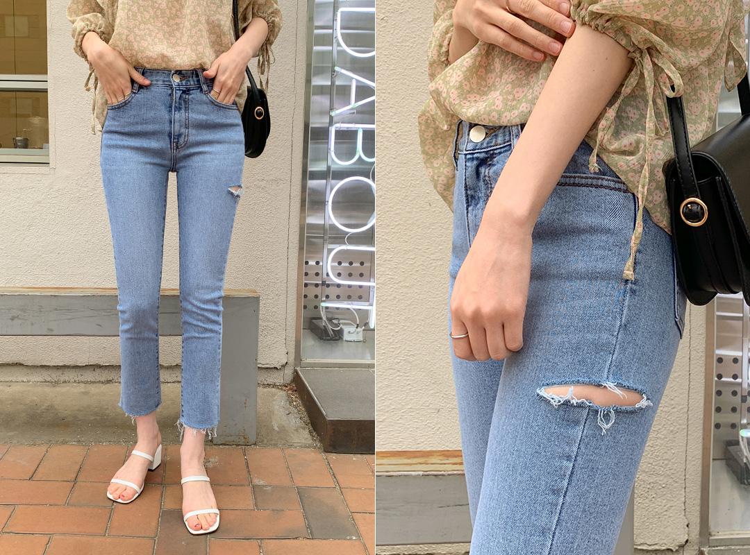 i-arden-[칼구제 데미지 일자스키니]♡韓國女裝褲