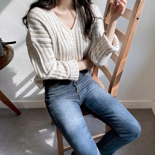 minibbong-밤비 세미크롭 브이넥니트♡韓國女裝上衣