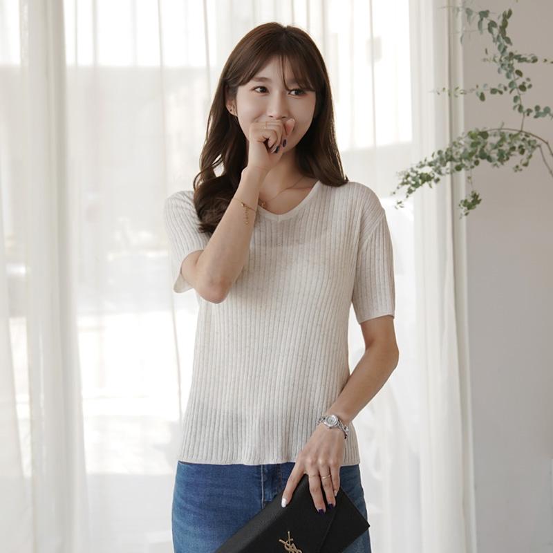 clicknfunny-[쿨링스 골지 브이넥니트]♡韓國女裝上衣