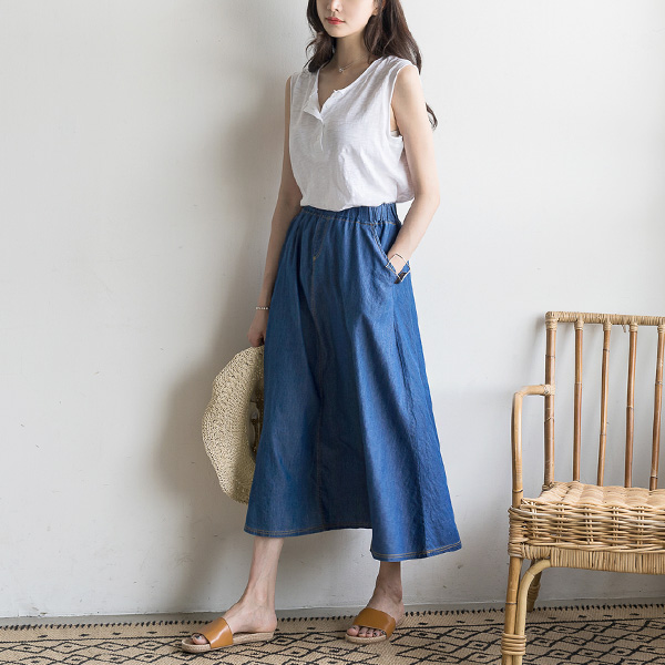 misscandy-[no.15200 허리밴딩 양포켓 데님스커트]♡韓國女裝裙