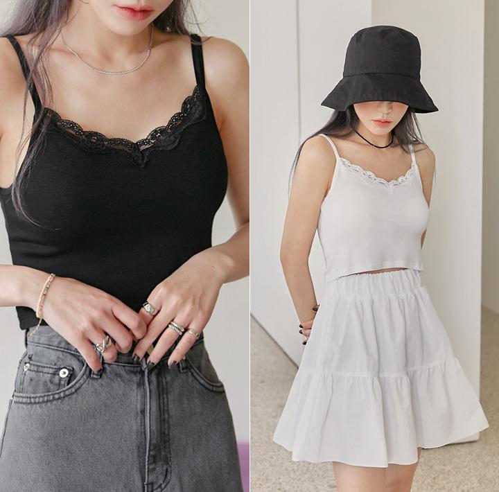 common-unique--스카우트 레이스 크롭 슬리브리스♡韓國女裝上衣