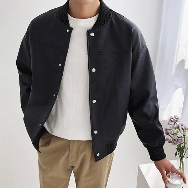 tomonari-토모나리(TOMONARI) [베이직 블루종 레더 자켓]♡韓國男裝外套