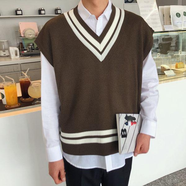 tomonari-토모나리(TOMONARI) [하레 투톤 브이넥 조끼]♡韓國男裝外套
