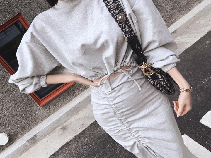 ROSEFACTORY-크롭 맨투맨 머메이드 세트(2color!)♡韓國女裝套裝