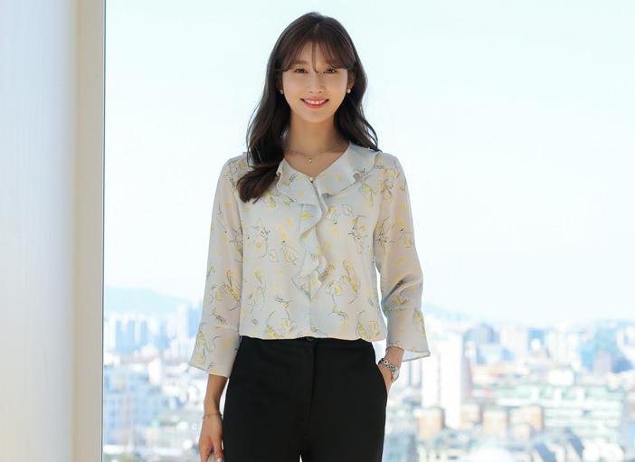 clicknfunny-[켄트플라워 시폰블라우스]♡韓國女裝上衣
