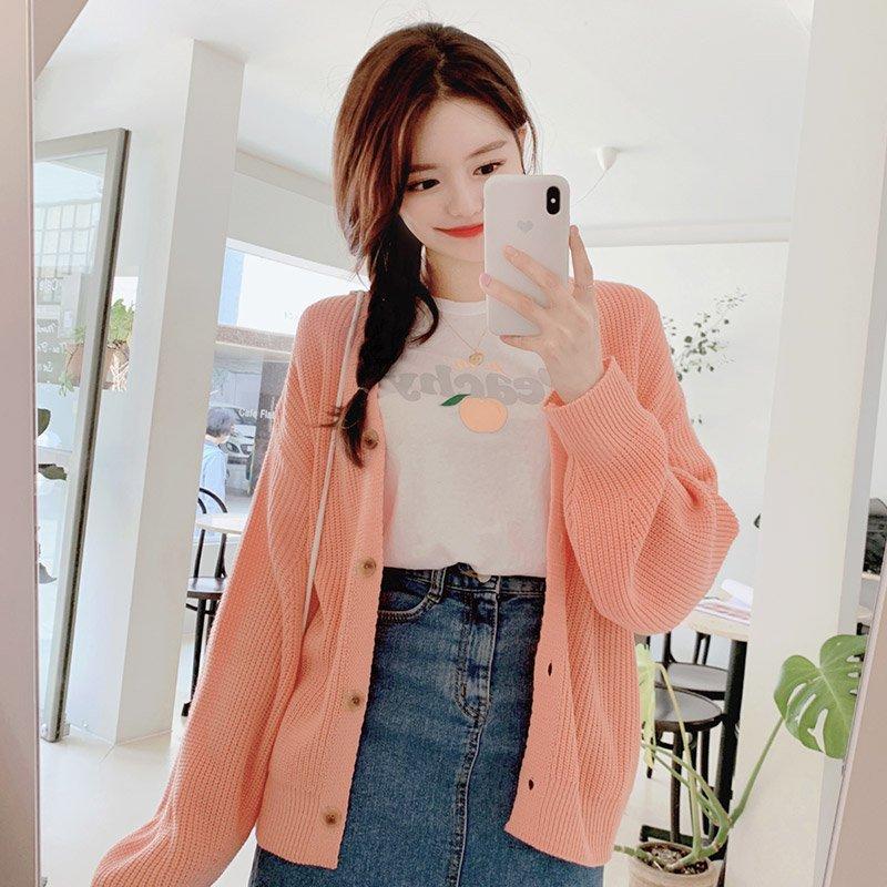 attrangs-cd1333 도톰하고 몽글몽글한 니트짜임이 돋보이는 루즈핏 V넥 하찌가디건 cardigan♡韓國女裝外套