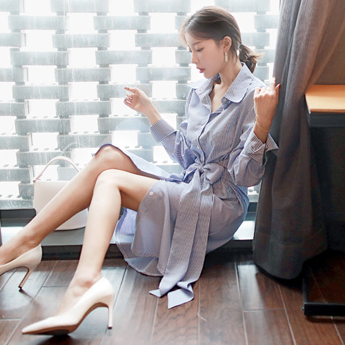 ssumparty-끌로앤드(st커프스셔츠허리끈OPS)♡韓國女裝連身裙