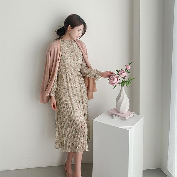 canmart-[잔꽃나염플리츠원피스 C032507]♡韓國女裝連身裙
