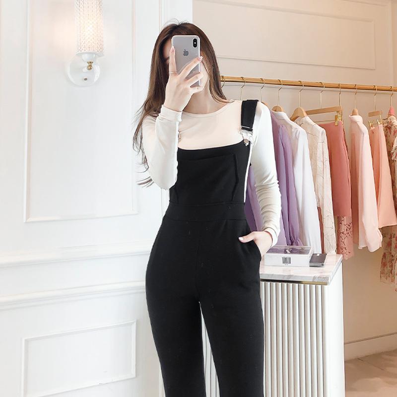 attrangs-op8763 캐쥬얼한 무드를 선사하는 멜빵 디자인의 롱 서스펜더 팬츠 dress♡韓國女裝褲
