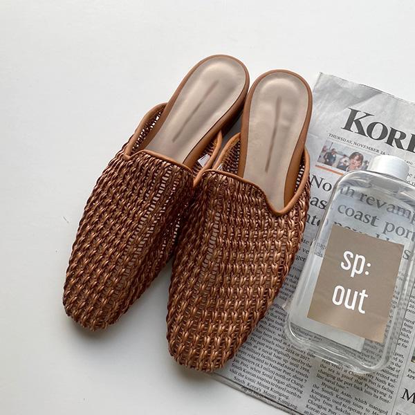 QNIGIRLS-트래핑 라탄블로퍼♡韓國女裝鞋