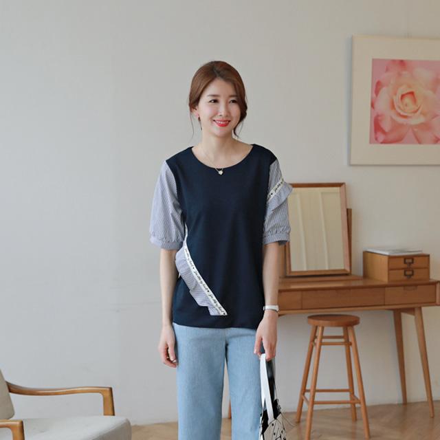 tiramisu-504영문테잎배색티♡韓國女裝上衣