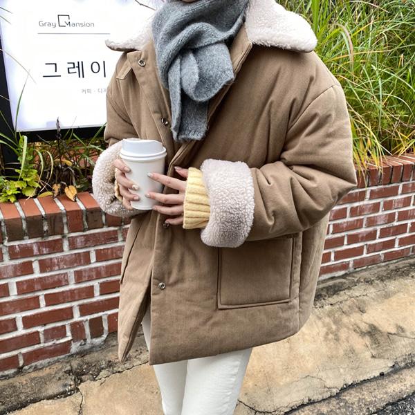 minibbong-퍼스트 양털카라 코튼숏패딩♡韓國女裝外套