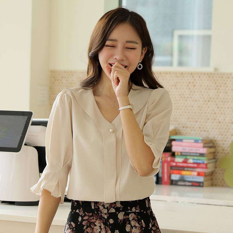 clicknfunny-[볼린 퍼프블라우스]♡韓國女裝上衣