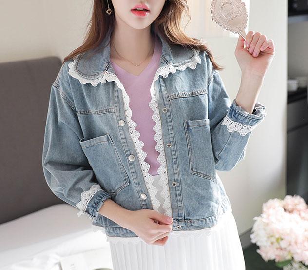 myfiona-데님라인레이스*jacket/a0048♡韓國女裝外套