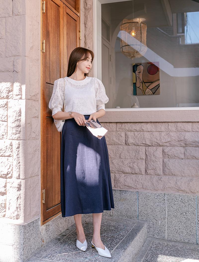 jstyleshop-[[EVELLET]라피엔 레이스 퍼프 블라우스]♡韓國女裝上衣