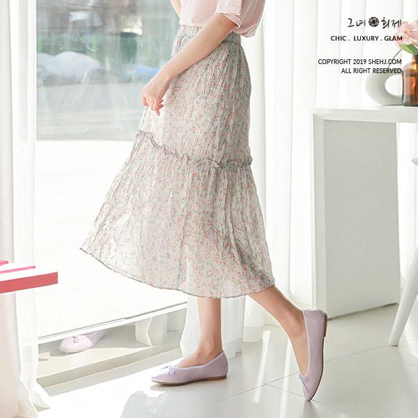 shehj-청순 플라워 프릴 주름 밴딩 스커트♡韓國女裝裙
