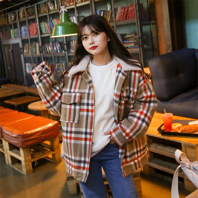 kikiko-양털카라울체크JP♡韓國女裝外套