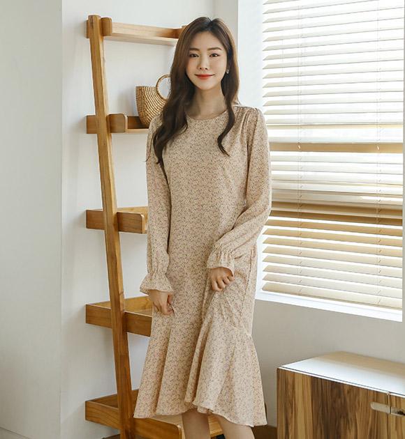 justone-카디 허리끈 라운드 플라워원피스♡韓國女裝連身裙