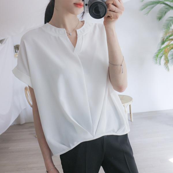 misscandy-[no.17178 셔링포인트 브이넥 쉬폰블라우스]♡韓國女裝上衣