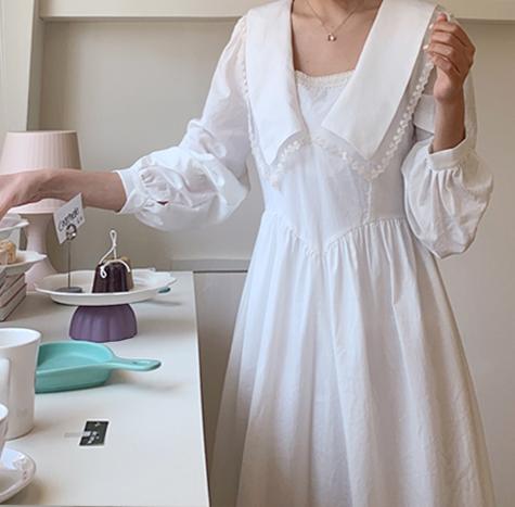 leelin-[페리수리 레이스 카라 원피스]♡韓國女裝連身裙