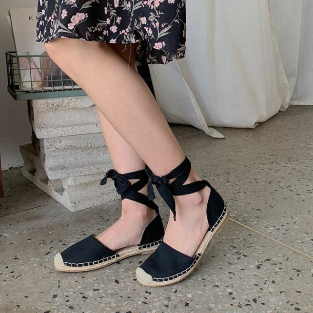 編織平底綁帶涼鞋
