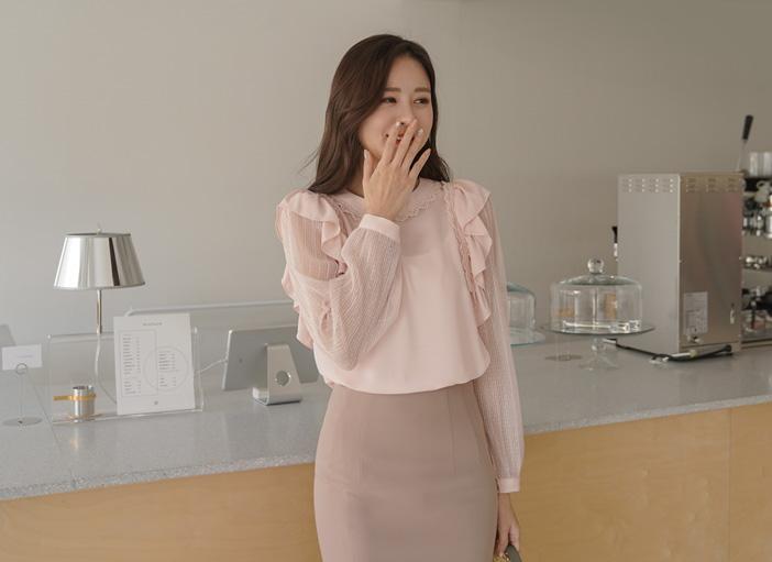 clicknfunny-[틸롬 러플블라우스]♡韓國女裝上衣