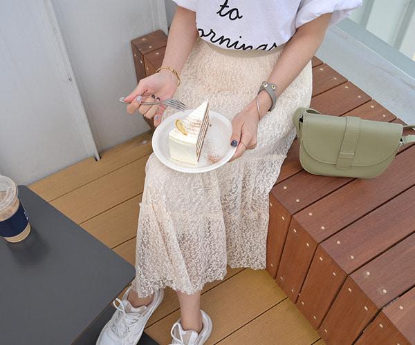 DailyN-(무배)프리티 레이스 플레어 밴딩 롱 스커트♡韓國女裝裙