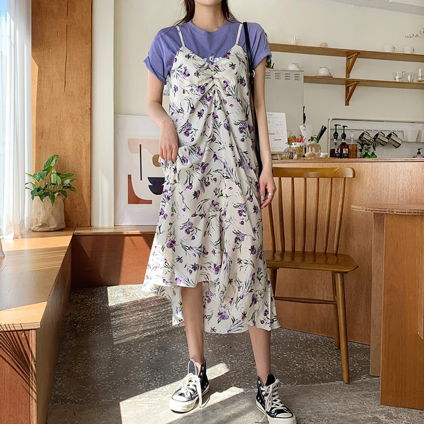 吊帶花紋連身裙