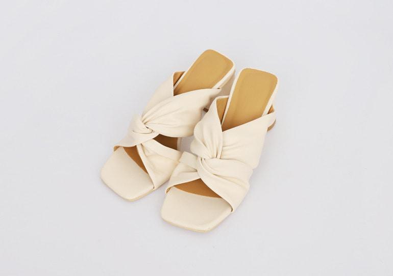 prostj-셔링 꼬임 샌들 힐 (4colors)♡韓國女裝鞋