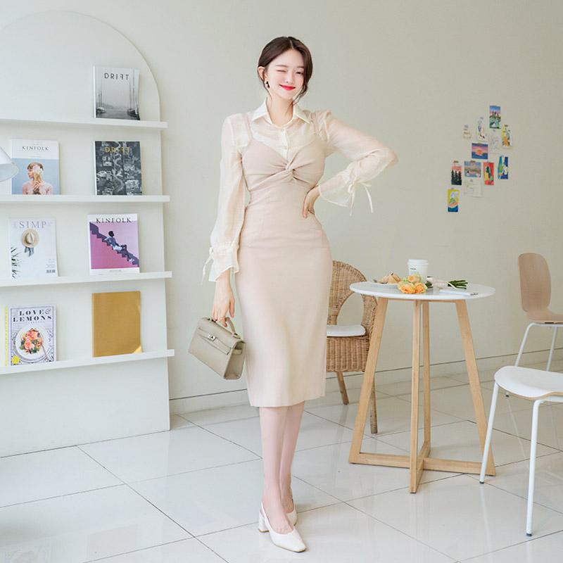 attrangs-op8849 로맨틱한 바스트 꼬임 포인트의 슬림핏 레이어드 슬립 롱원피스 dress♡韓國女裝連身裙