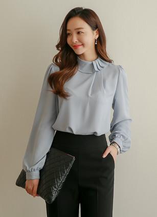styleberry-[◆new 10% 보르도 핀턱넥 블라우스]♡韓國女裝上衣